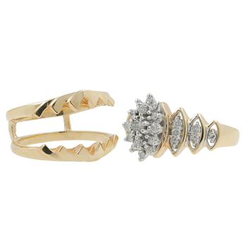 Ladies Classic Estate 10K Yellow Gold Diamond Cluster Ring w/ Enhancer - 0.75CTW