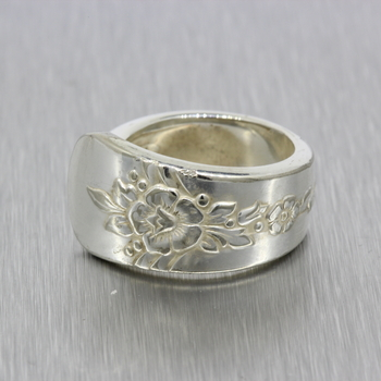 Ladies Vintage Classic Estate 925 Silver Spoon Handle Ring - Size 4.75