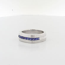 Jaw Dropping Mens 18K White Gold 1.20 CTW Rich Sapphire Blue Wedding Band Ring