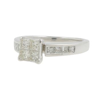 Ladies Classic Estate 14K White Gold Round & Princess Cut Diamond Ring - 1.12CTW