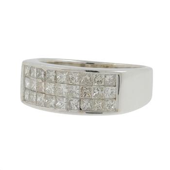 Ladies Mens Vintage Estate 14K White Gold Princess Cut Diamond Ring Band - 1.62CTW