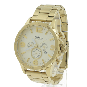Fossil Men's Chronograph Gold Tone Multi Function Dial Watch JR1479