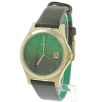 Ladies Marc Jacobs The Slim Round Olive Leather Green Dial Watch - MBM1320