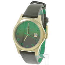 Marc Jacobs Ladies The Slim Round Olive Leather Green Dial Watch MBM1320