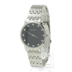 Bulova Men's 96D106 Diamond Accented Stainless Steel Bracelet Black Dial Watch
