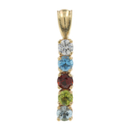 Ladies Vintage Classic Estate 14K Yellow Gold Multi-Colored Stones Pendant