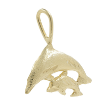 Ladies Vintage Classic Estate 14K Yellow Gold Dolphin Shaped Charm Pendant