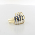 Ladies Show Stopping Vintage 18K Yellow Gold Diamond & Sapphire Cocktail Ring