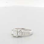 Ladies Certified Emerald Cut Diamond Three Stone 18K White Gold Engagement Ring