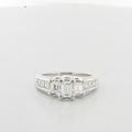 Ladies Certified Emerald Cut Diamond Three Stone 18K White Gold Engagement Ring