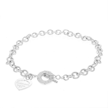 Ladies Tiffany & Co 925 Silver Link Heart Charm Toggle Necklace - 16 inch