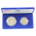 Authentic 1986 United States Liberty Coins Silver Dollar & Half Dollar