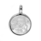 Vintage Classic Estate Ladies 925 Silver Angel Mother Of Pearl Round Pendant