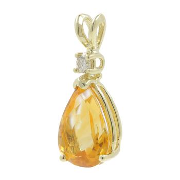 Ladies Vintage Classic Estate 10K Yellow Gold Pear Cut Citrine Gemstone & Diamond Pendant