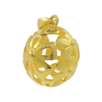 Ladies Vintage Estate 24K Yellow Gold Floral Motif Flower Sphere Design Pendant