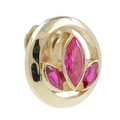 Ladies Estate 10K Yellow Gold Pink Topaz Gemstone Floral Design Pin Brooch