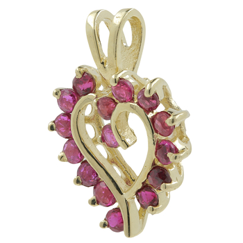 Ladies Vintage Estate 14K Yellow Gold Red Spinel Gemstone Open Heart-Shaped Pendant