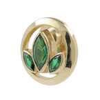 Ladies Estate 10K Yellow Gold Green Tourmaline Gemstone Floral Design Pin Brooch