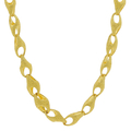 Unisex 22K Yellow Gold Sandblasted Finish Link Chain Necklace - 20 inch