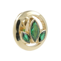 Ladies Estate 10K Yellow Gold Green Tourmaline Gemstone Floral Design Pin Brooch
