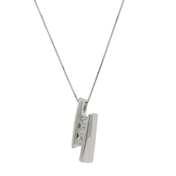 Ladies Modern 14K White Gold Round Diamond Pendant & Box Chain Necklace Set