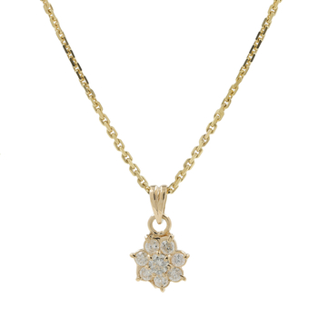 Ladies Estate 14K Yellow Gold Rosita Diamond Cluster Pendant & Chain Necklace