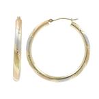Ladies Estate 14K Tri-Color Gold Satin Finish Diamond Cut Open Hoop Earrings