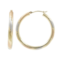 Ladies Estate 14K Tri-Color Gold Satin Finish Diamond Cut Open Hoop Earrings