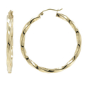 Ladies Classic Estate 14K Yellow Gold Twisted Design Huggie Hoop Earrings