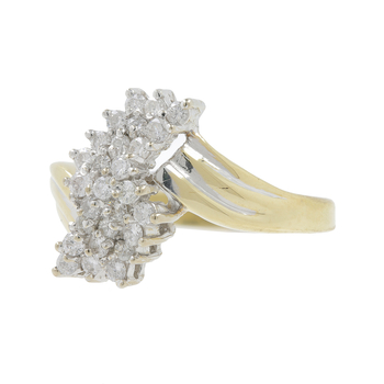 Ladies Estate 10K Yellow Gold Diamond Bypass Cluster Cocktail Ring - 0.67CTW