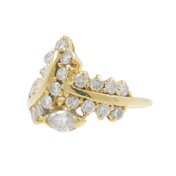 Ladies Estate 14K Yellow Gold Round & Marquise-Cut Diamond Bypass Cocktail Ring