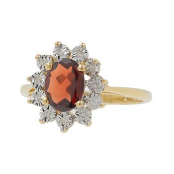 Ladies Estate 14K Yellow Gold Red Garnet Gemstone & Diamond Halo Cocktail Ring