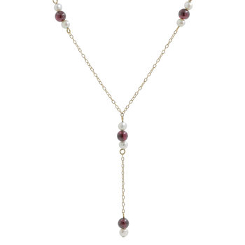 Ladies Classic Estate 14K Yellow Gold Pearl & Garnet Gemstone Lariat Chain Necklace
