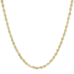 Ladies Men's Estate 10K Yellow Gold Rope Diamond-Cut 22-inch Chain Necklace