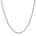 Ladies Men's Modern 14K White Gold 20-inch Diamond-Cut Rope Chain Necklace - New