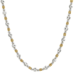 """Ladies Classic Estate 14K Two-Tone White & Yellow Gold Ball Bead Necklace - 16"""""""