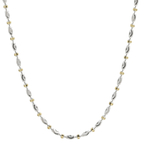 Ladies Vintage Estate 14K White & Yellow Gold Fancy Bead 18-inch Chain Necklace