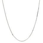 Ladies Modern 14K White Gold Box Chain Necklace with Heart Charm - 22 inch