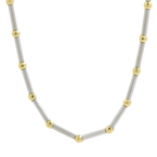 Vintage Estate 18K White & Yellow Gold Fancy Bead Chain Necklace - 18-inch