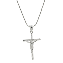 Ladies Mens 18K White Gold Religious Cross Crucified Jesus Pendant 18-inch Chain