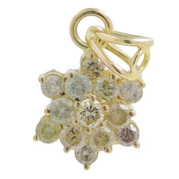 Ladies Classic Estate 10K Yellow Gold Diamond Rosita Cluster Floral Flower Pendant - 0.91CTW