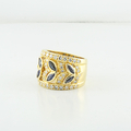 Jaw Dropping 18K Yellow Gold Estate Round Diamond & Marquise Sapphire Band Ring