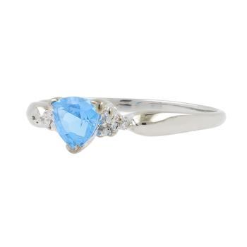 Ladies 10K White Gold Trillion-Cut Blue Zircon Gemstone & Diamond Accent Ring