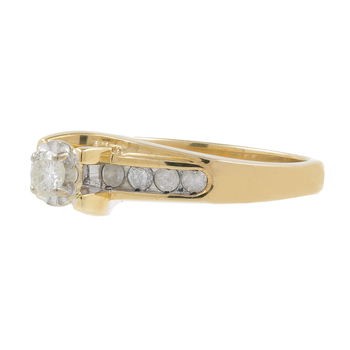 Ladies Vintage Estate 10K Yellow Gold Round Diamond Solitaire w/ Accent Ring