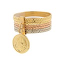 Ladies Estate 10K Tri-Color Gold Stackable Diamond-Cut Maximiliano Emperodor Coin Charm Ring