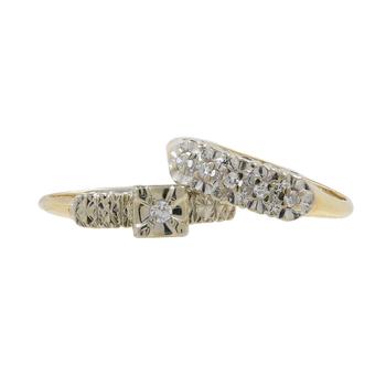 Ladies Estate 14K Yellow Gold Diamond Engagement Ring & Wedding Band Bridal Set
