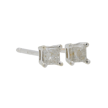Ladies Vintage Estate 14K White Gold Princess Cut Diamond  Stud Earrings