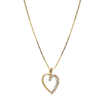 Ladies Estate 14K Yellow Gold Cubic Zirconia Heart Pendant & Chain Necklace