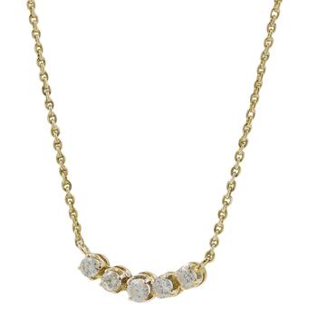 Ladies Classic Estate 14K Yellow Gold Diamond Chevron Cable Chain Necklace - 0.65CTW