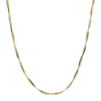 14K Two-Tone White & Yellow Gold Snake Box Braided 18-inch Chain Necklace - New